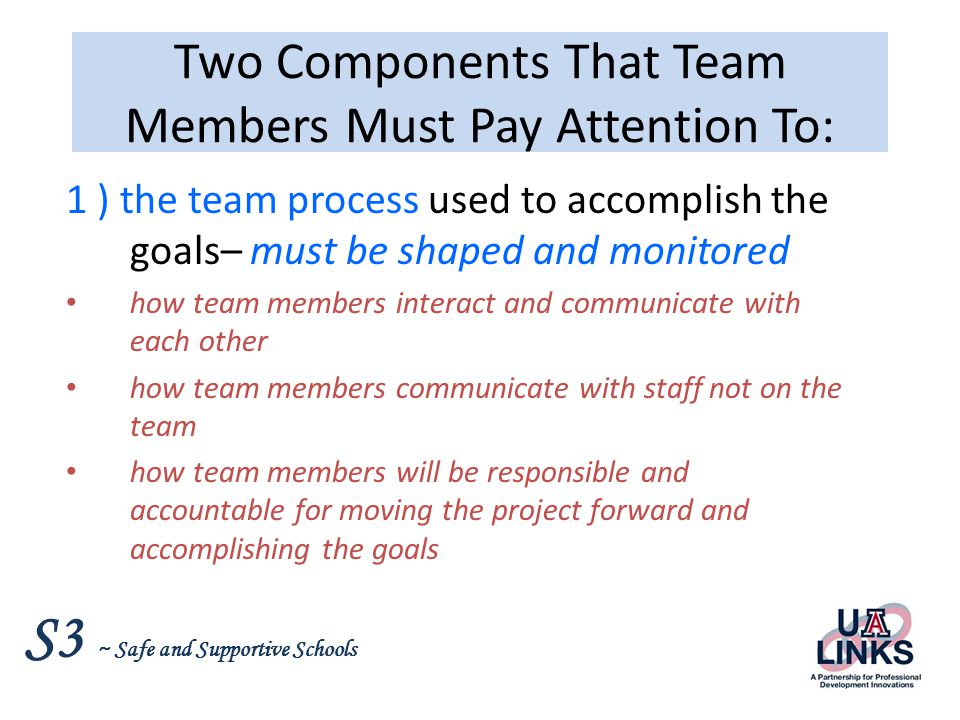 Two Components That Team Members Must Pay Attention To: