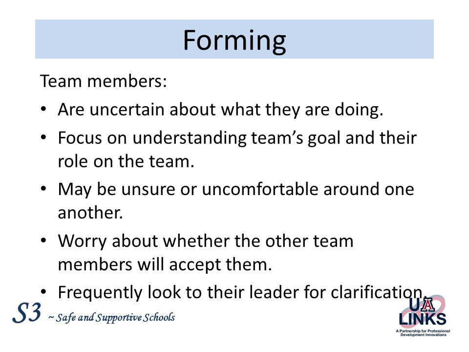 Forming Team members: Are uncertain about what they are doing.