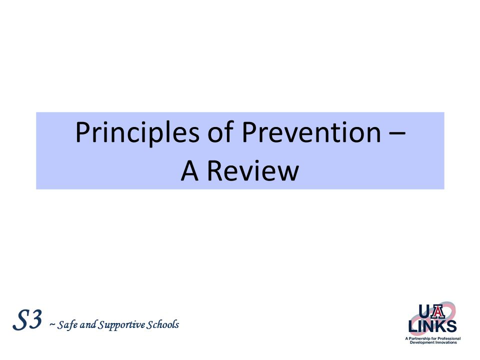 Principles of Prevention – A Review