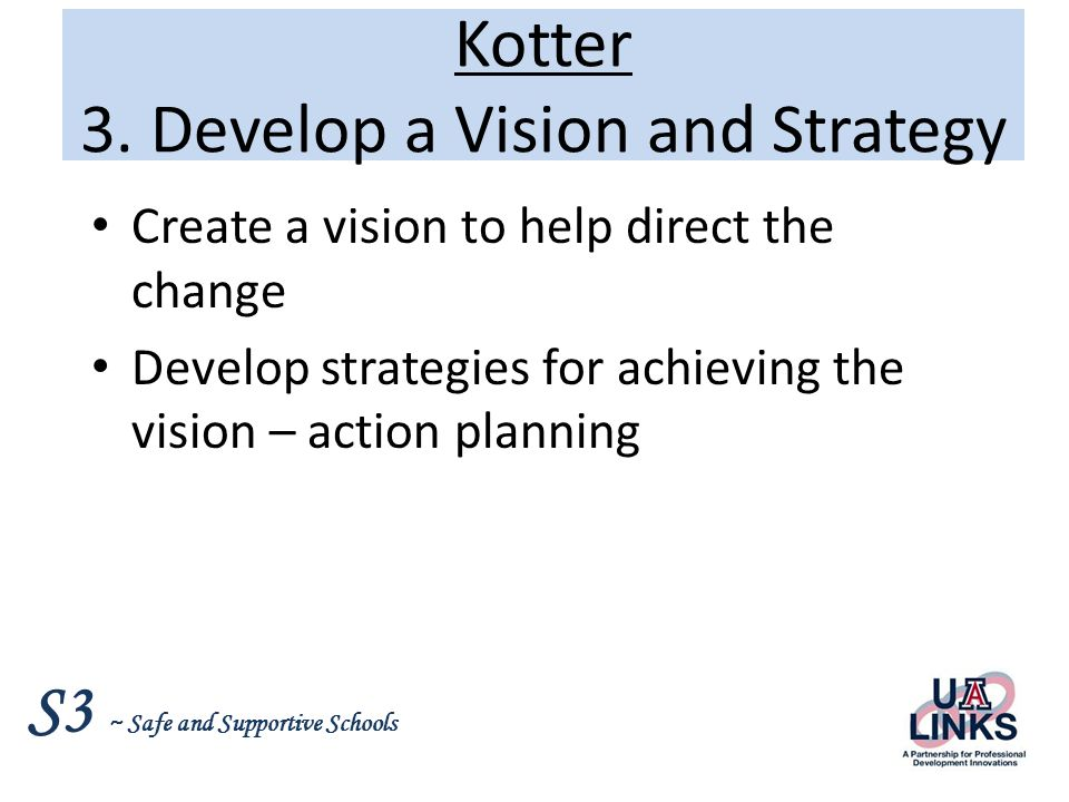 Kotter 3. Develop a Vision and Strategy