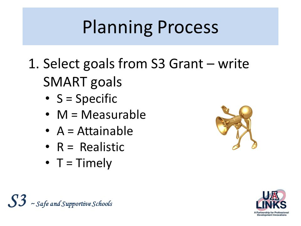 Planning Process Select goals from S3 Grant – write SMART goals