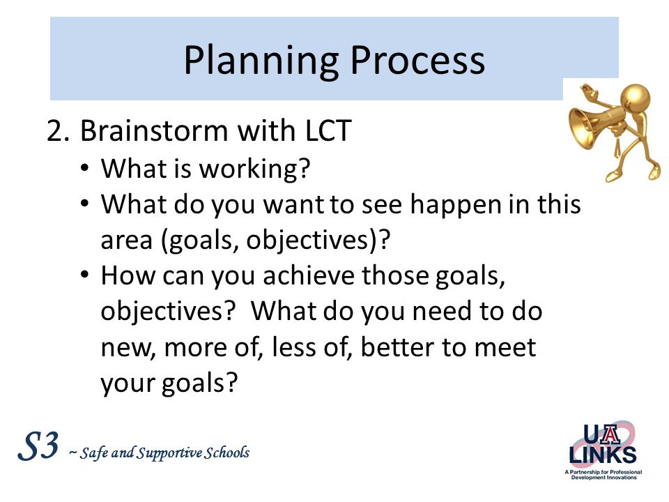 Planning Process Brainstorm with LCT What is working