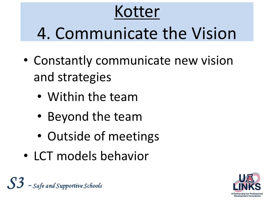 Kotter 4. Communicate the Vision