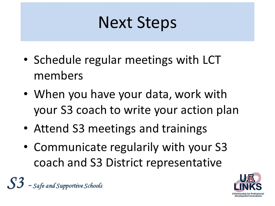 Next Steps Schedule regular meetings with LCT members