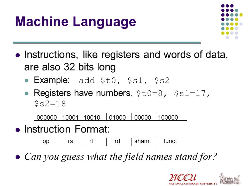 Machine Language Instructions, like registers and words of data, are also 32 bits long. Example: add $t0, $s1, $s2.