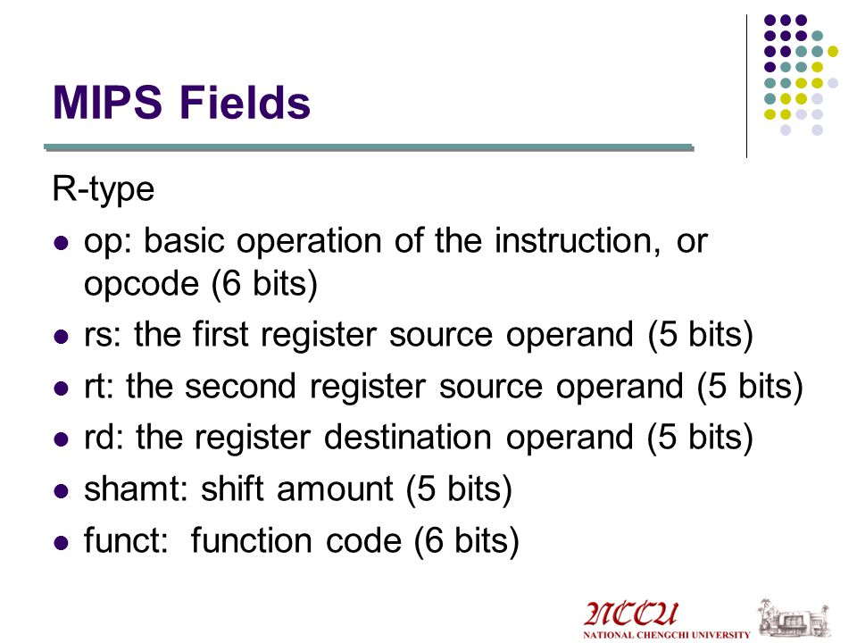 MIPS Fields R-type. op: basic operation of the instruction, or opcode (6 bits) rs: the first register source operand (5 bits)