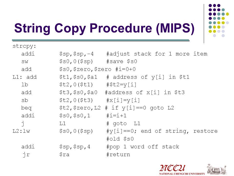 String Copy Procedure (MIPS)