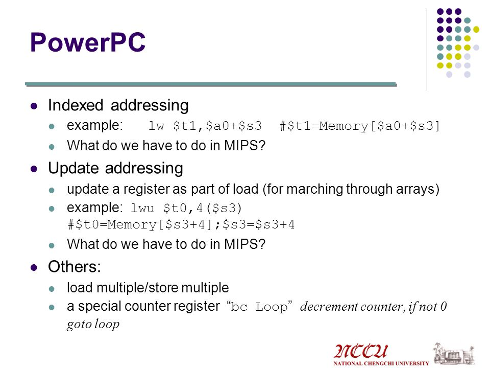 PowerPC Indexed addressing Update addressing Others: