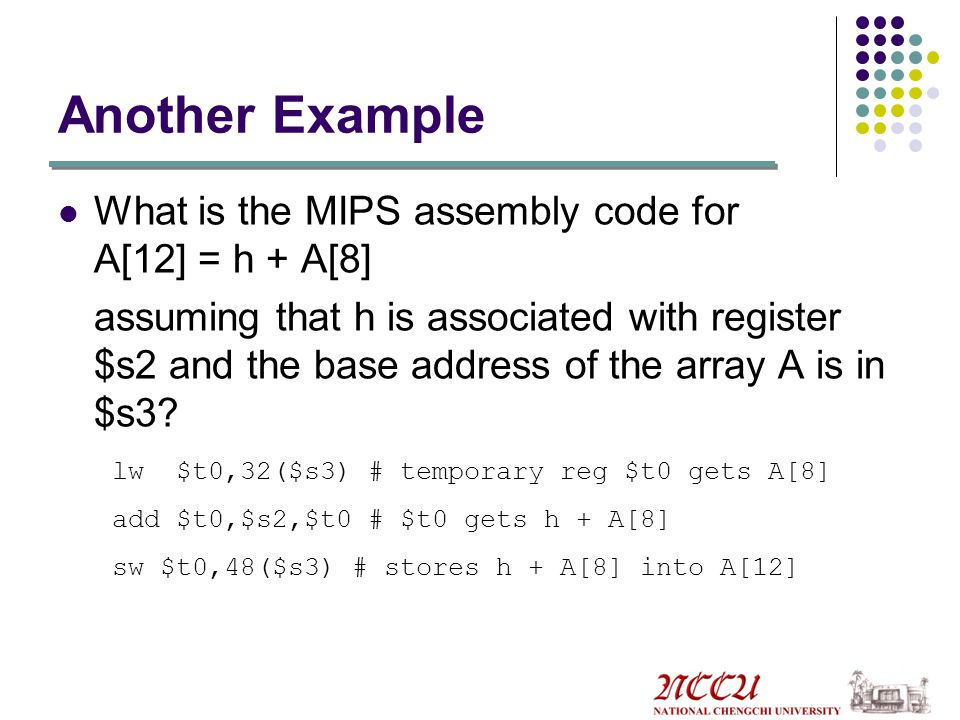 Another Example What is the MIPS assembly code for A[12] = h + A[8]