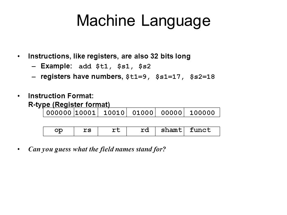 Machine Language Board work: Binary Numbers