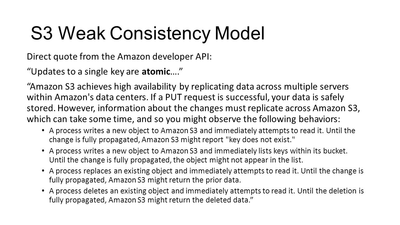 S3 Weak Consistency Model