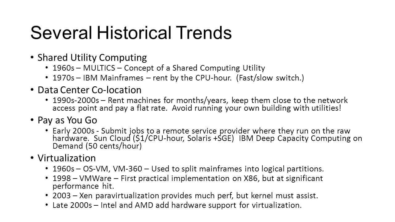 Several Historical Trends