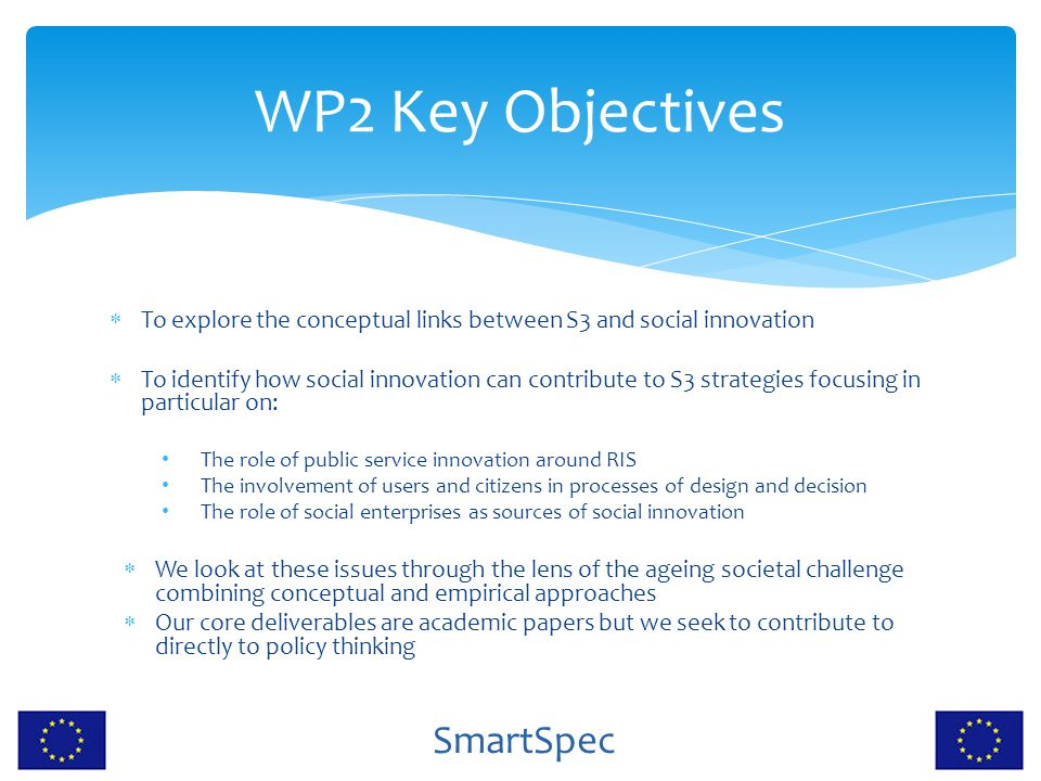 WP2 Key Objectives To explore the conceptual links between S3 and social innovation.
