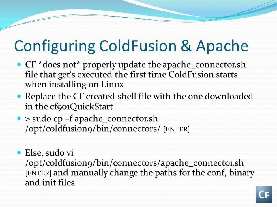 Configuring ColdFusion & Apache