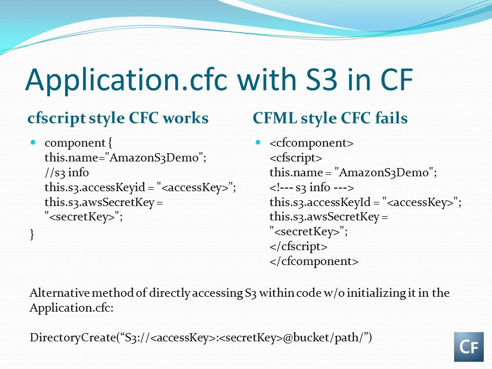 Application.cfc with S3 in CF