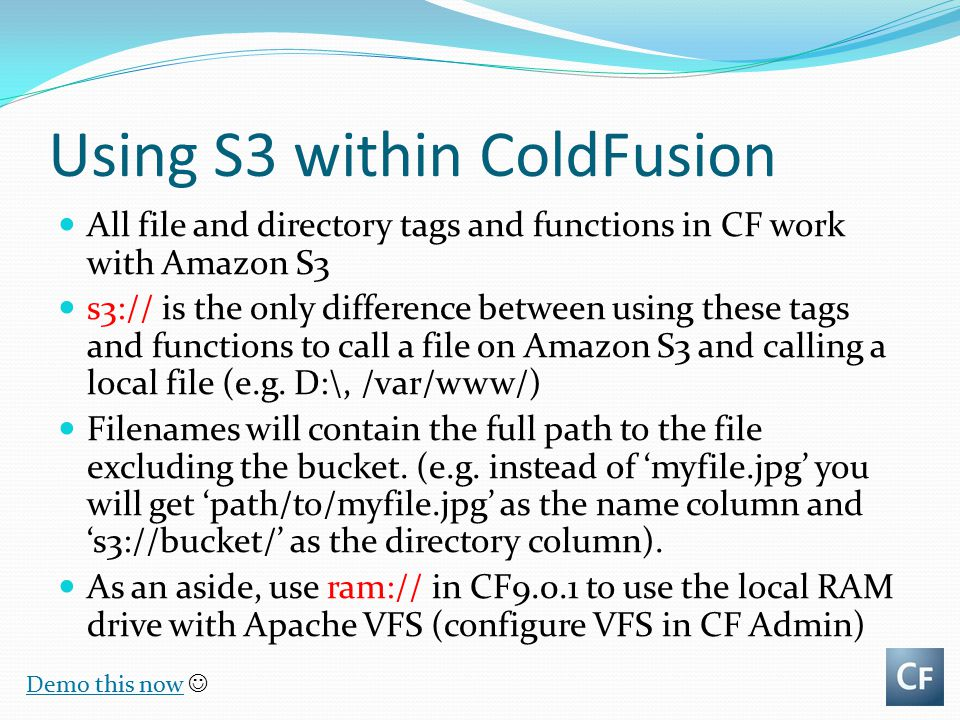 Using S3 within ColdFusion