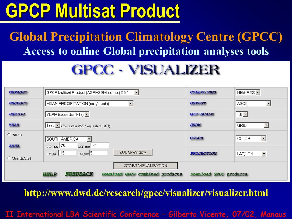 Access to online Global precipitation analyses tools