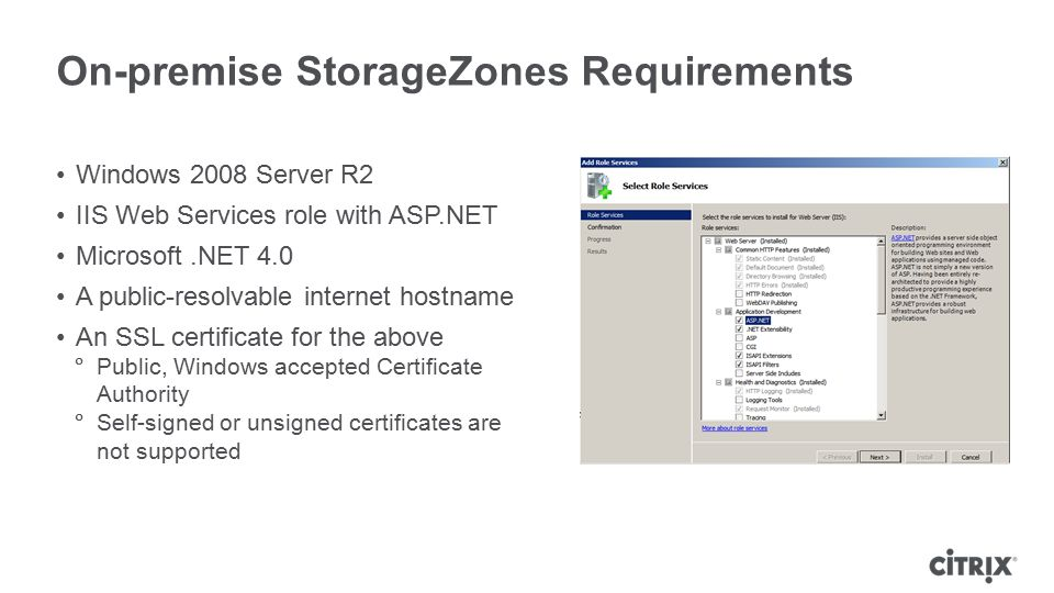 On-premise StorageZones Requirements