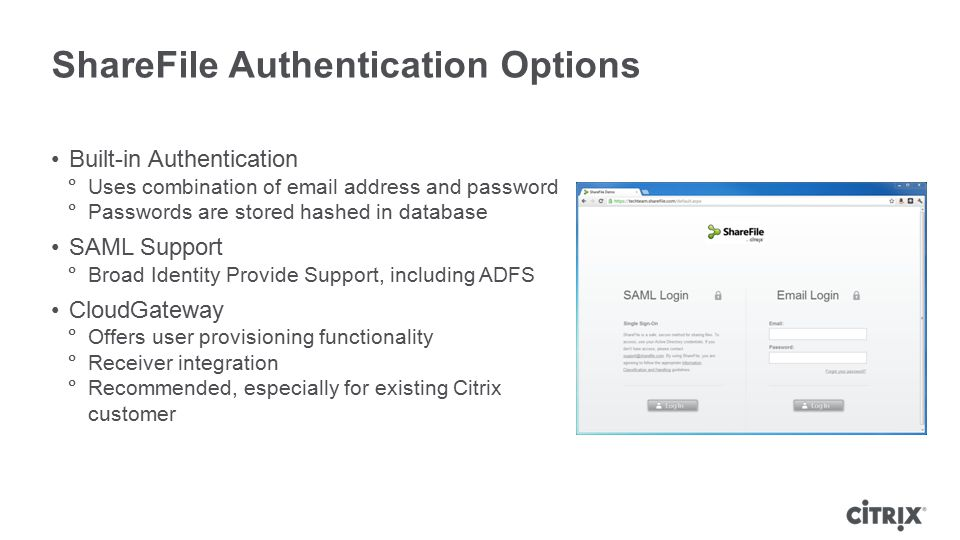 ShareFile Authentication Options