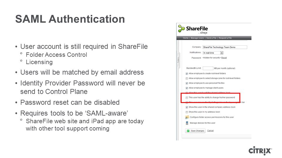 SAML Authentication User account is still required in ShareFile