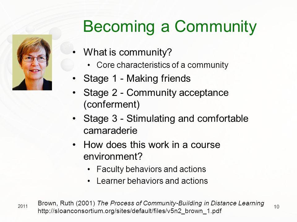 Becoming a Community What is community Stage 1 - Making friends