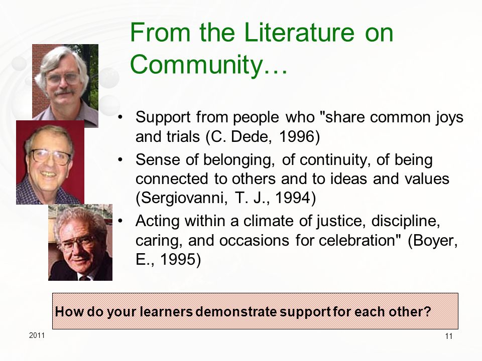 From the Literature on Community…