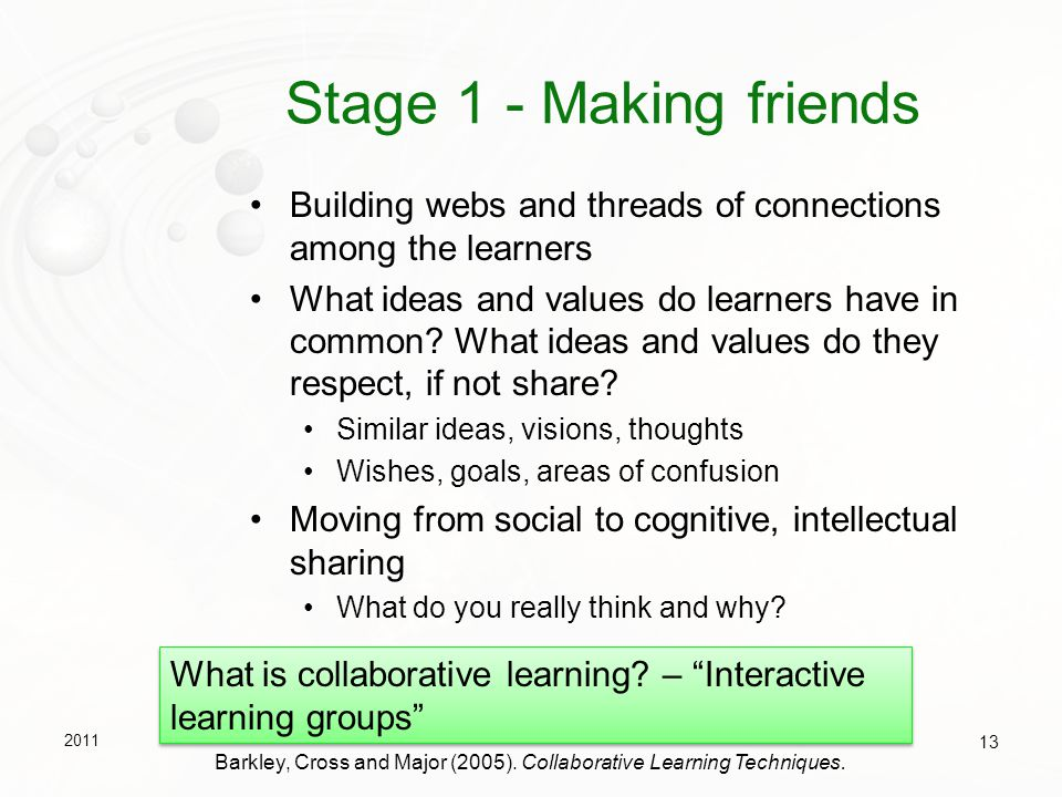 Stage 1 - Making friends Building webs and threads of connections among the learners.