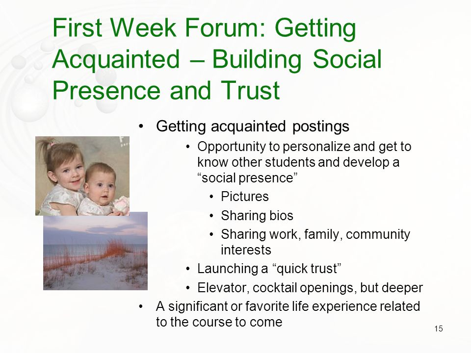 First Week Forum: Getting Acquainted – Building Social Presence and Trust