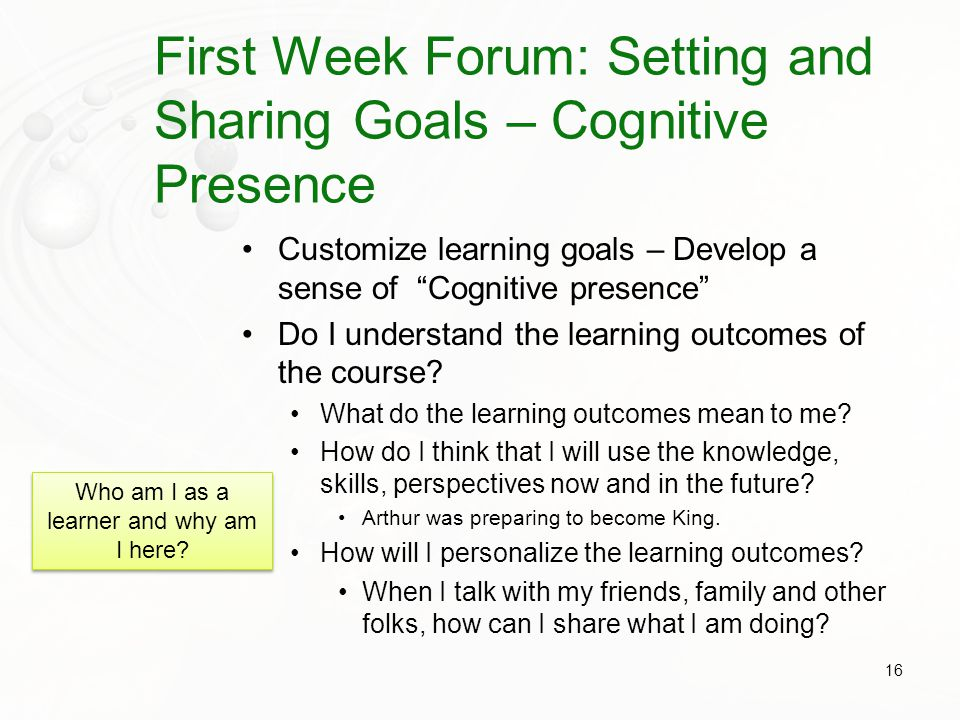 First Week Forum: Setting and Sharing Goals – Cognitive Presence