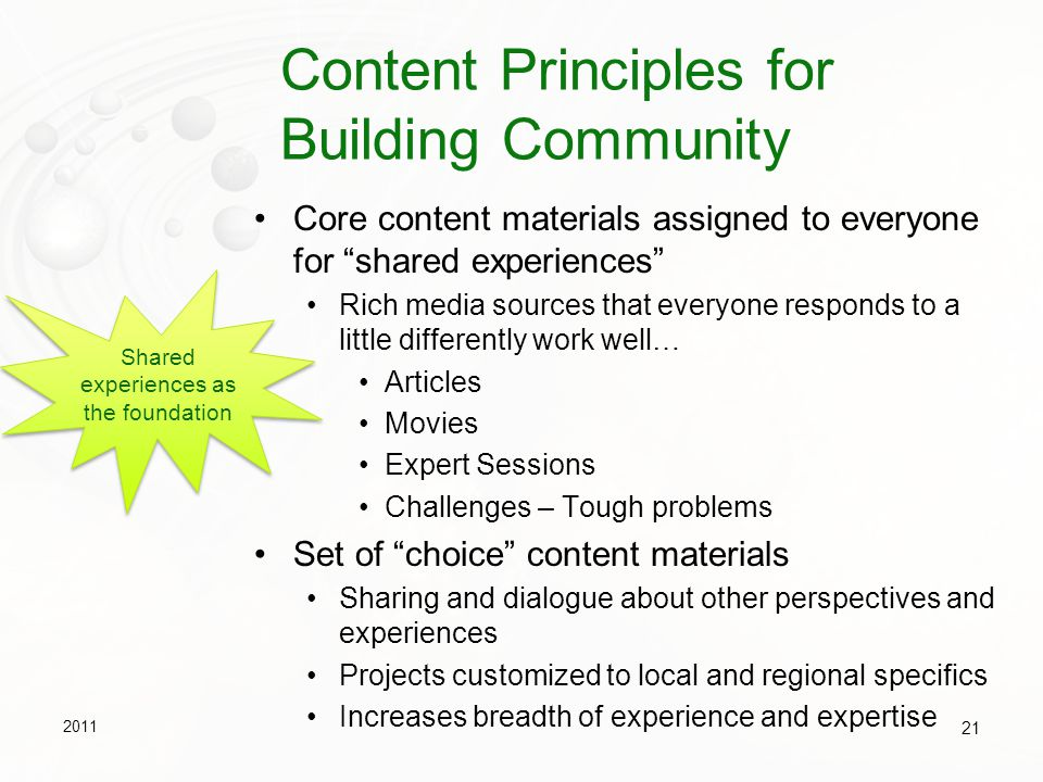 Content Principles for Building Community
