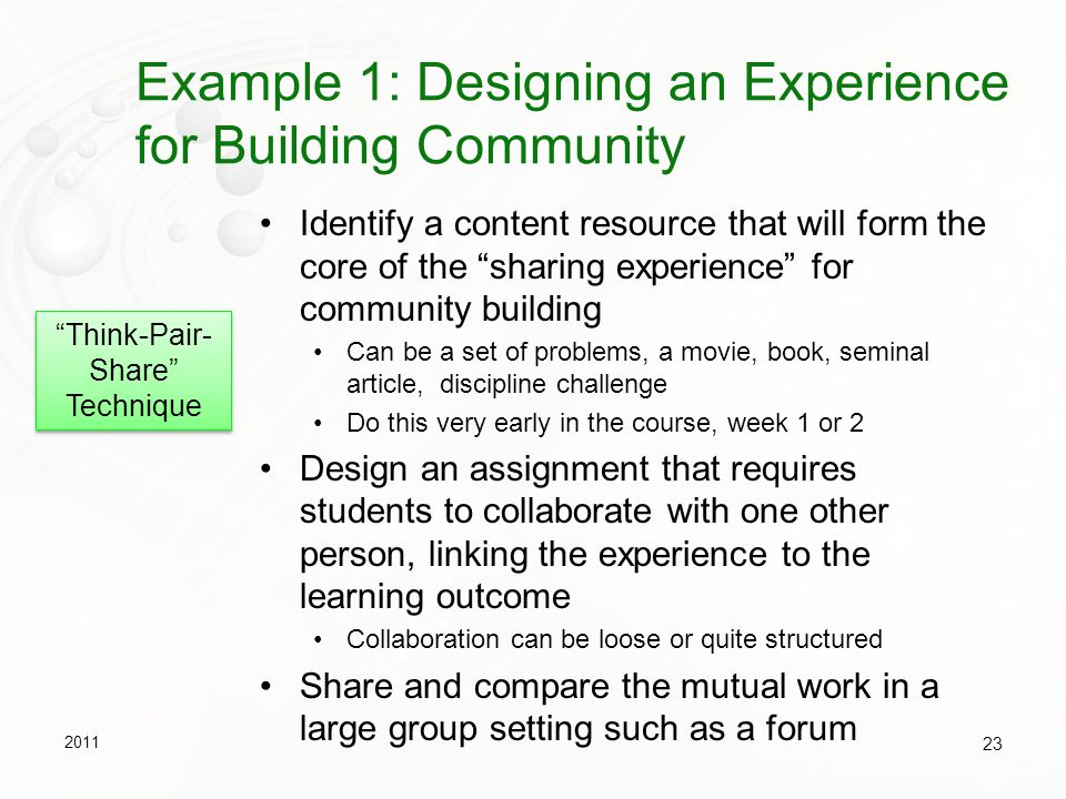 Example 1: Designing an Experience for Building Community