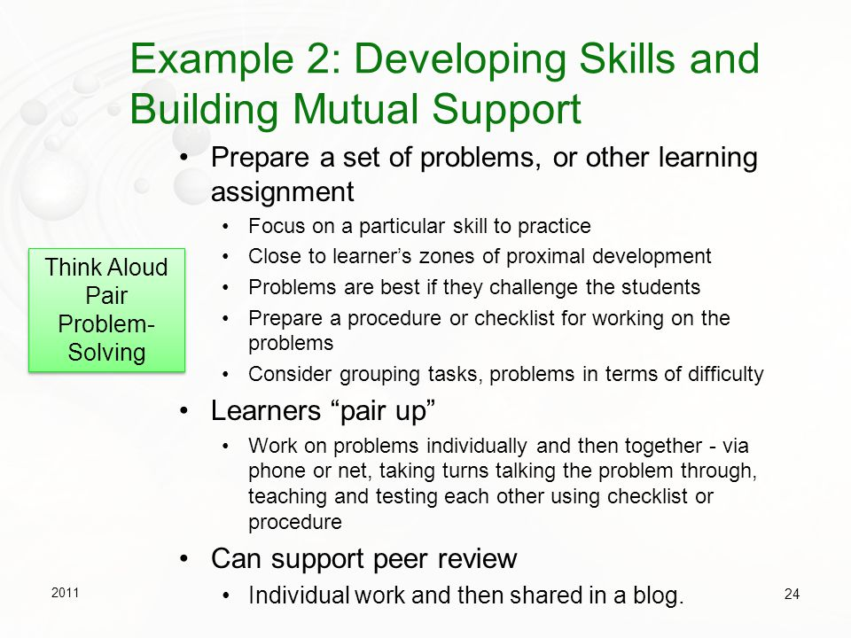 Example 2: Developing Skills and Building Mutual Support