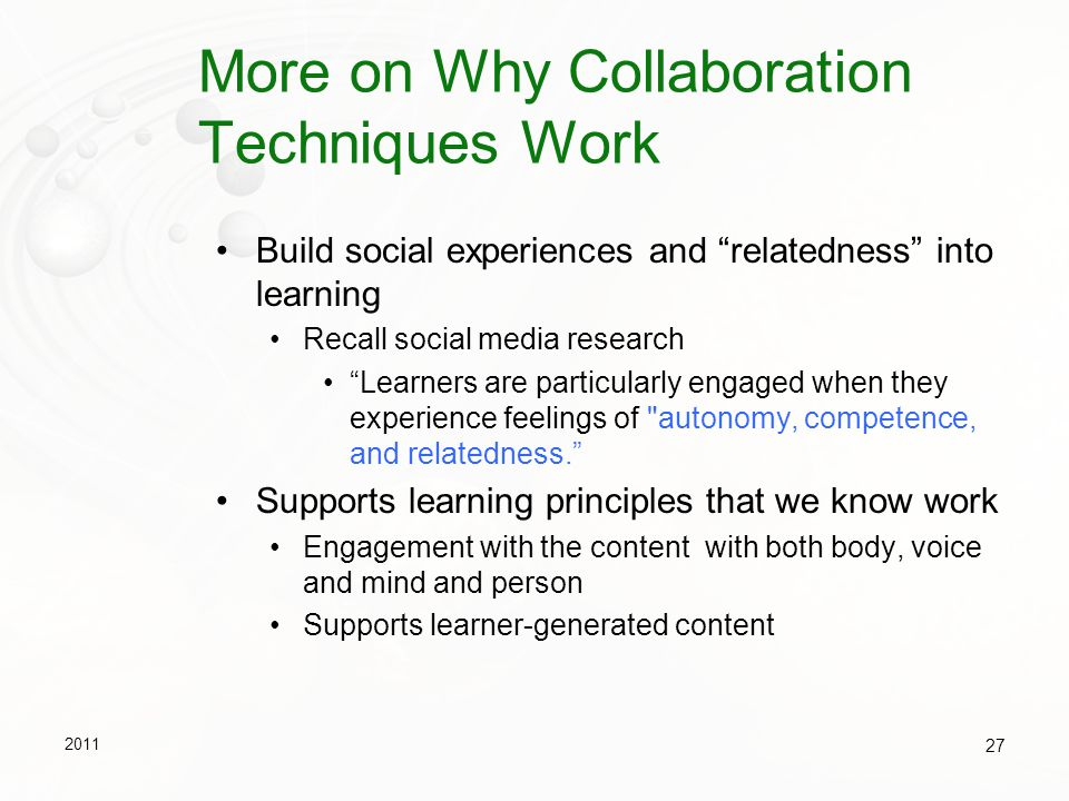 More on Why Collaboration Techniques Work