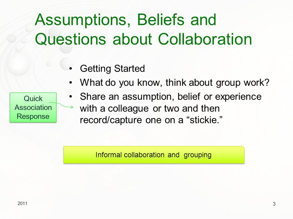 Assumptions, Beliefs and Questions about Collaboration