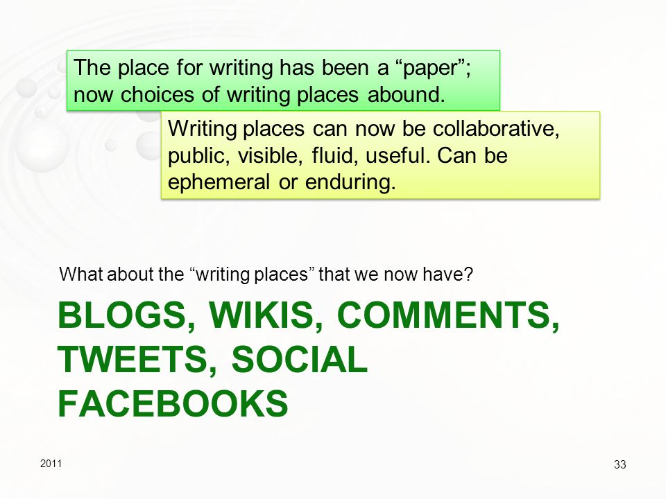 Blogs, Wikis, Comments, tweets, social facebooks