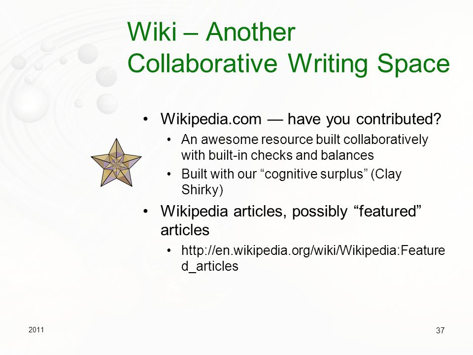 Wiki – Another Collaborative Writing Space