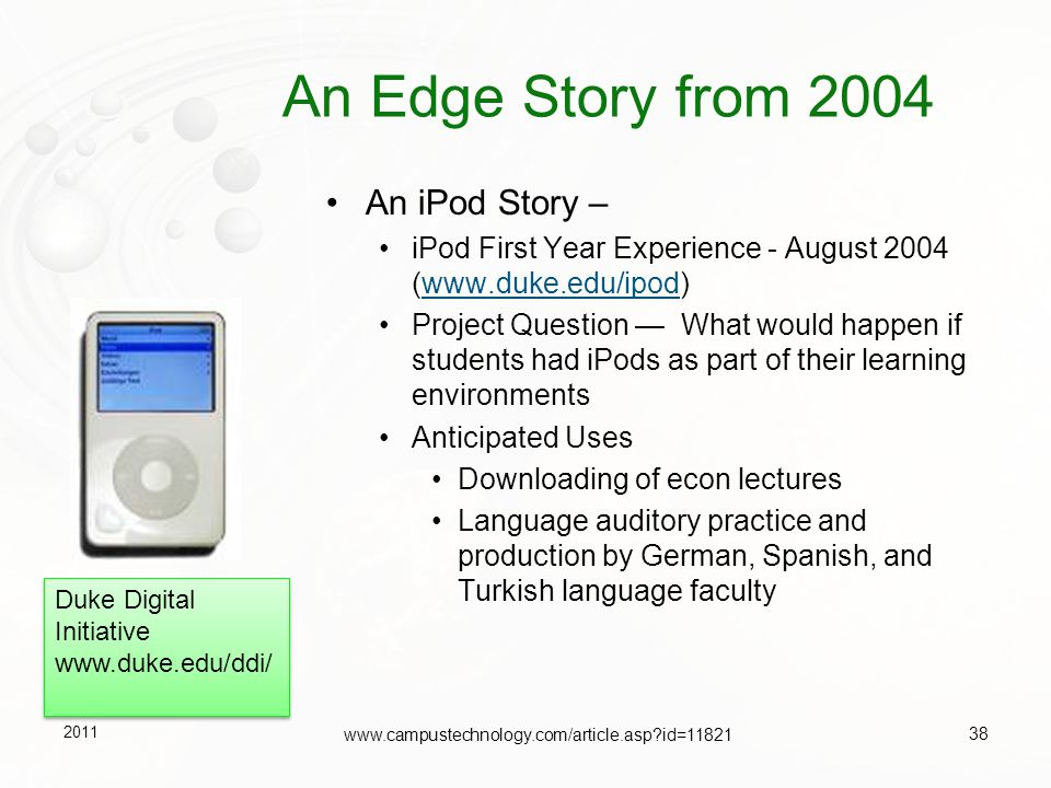 An Edge Story from 2004 An iPod Story –