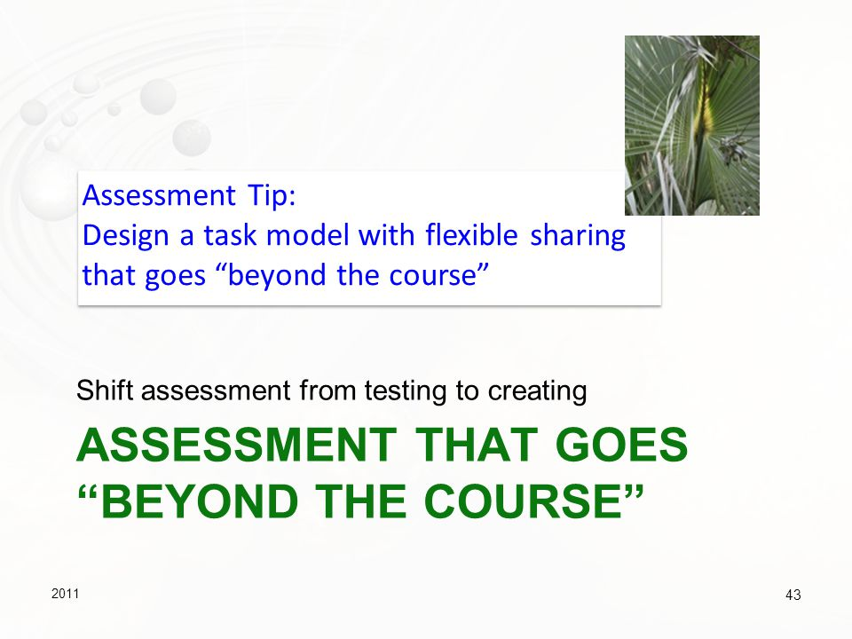 Assessment that goes beyond the course