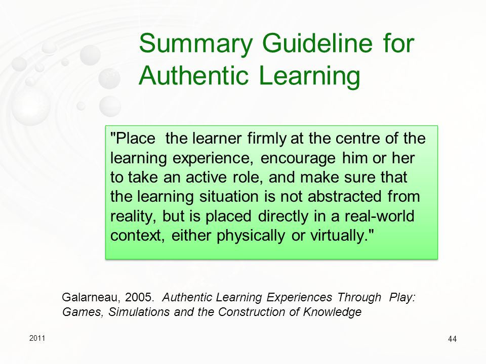 Summary Guideline for Authentic Learning