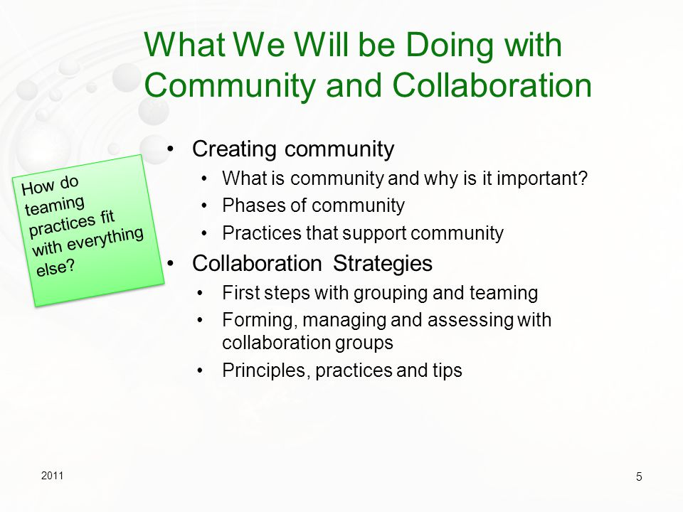 What We Will be Doing with Community and Collaboration