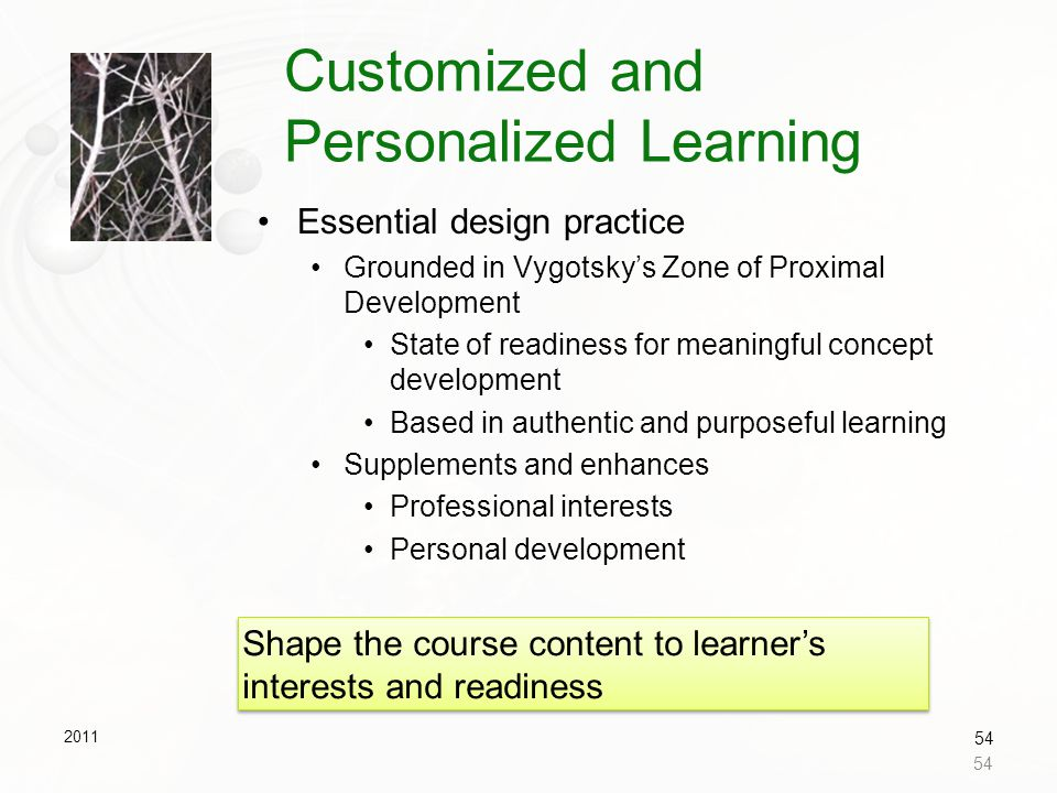 Customized and Personalized Learning