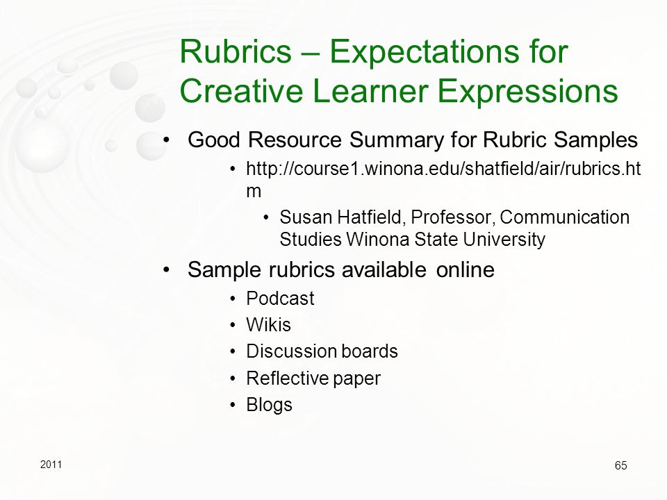 Rubrics – Expectations for Creative Learner Expressions