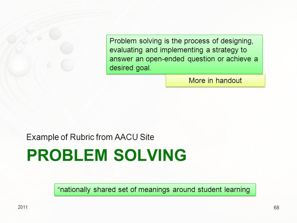 Problem Solving Example of Rubric from AACU Site