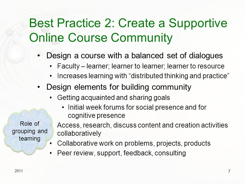 Best Practice 2: Create a Supportive Online Course Community