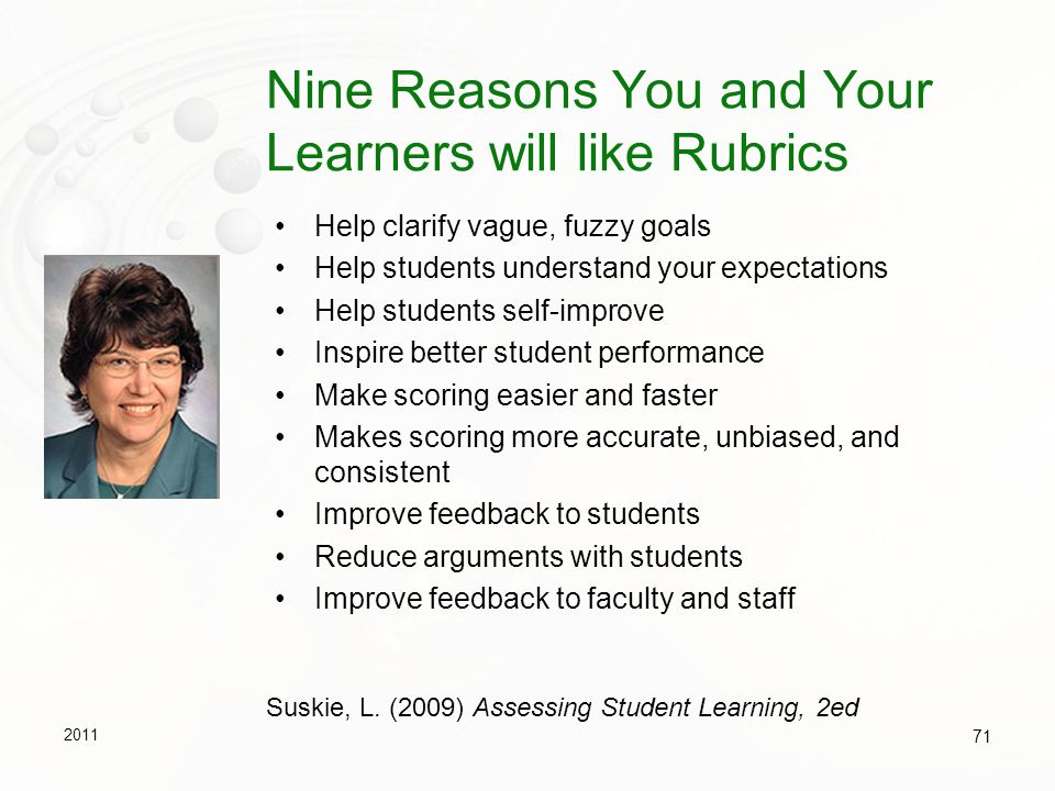 Nine Reasons You and Your Learners will like Rubrics