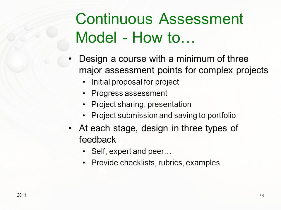 Continuous Assessment Model - How to…