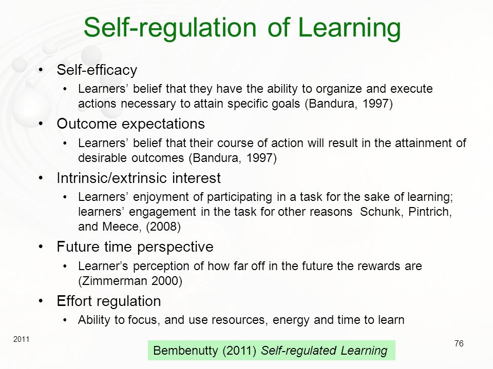 Self-regulation of Learning