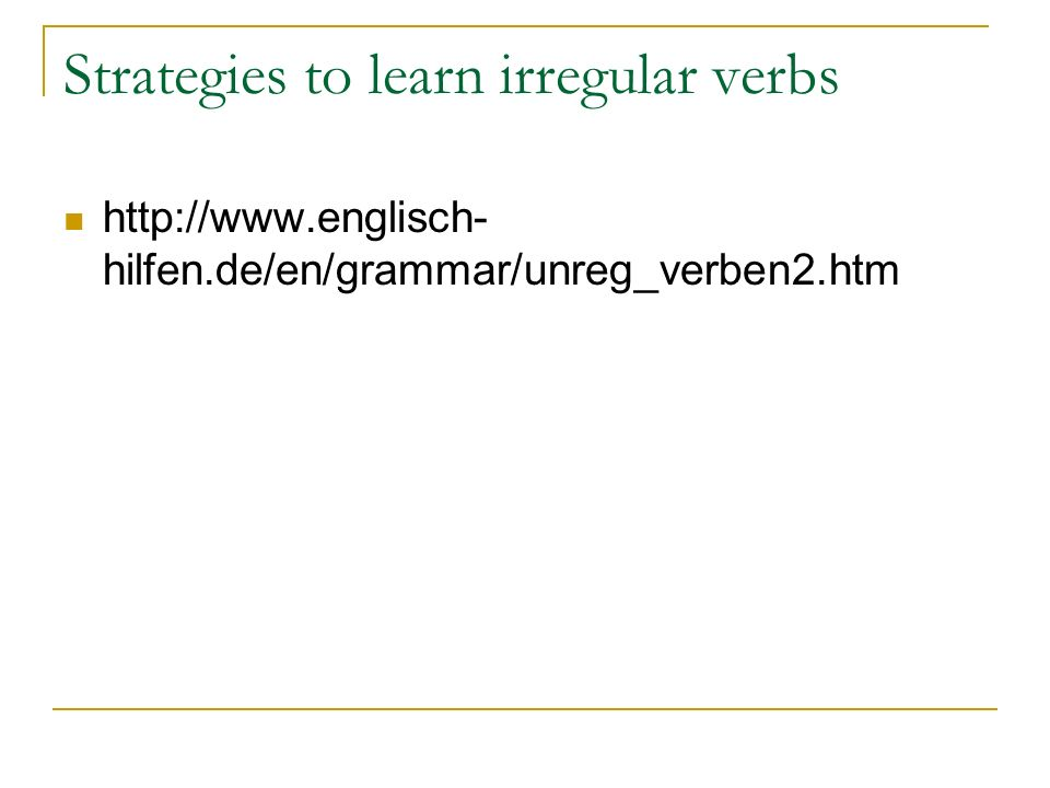 Strategies to learn irregular verbs