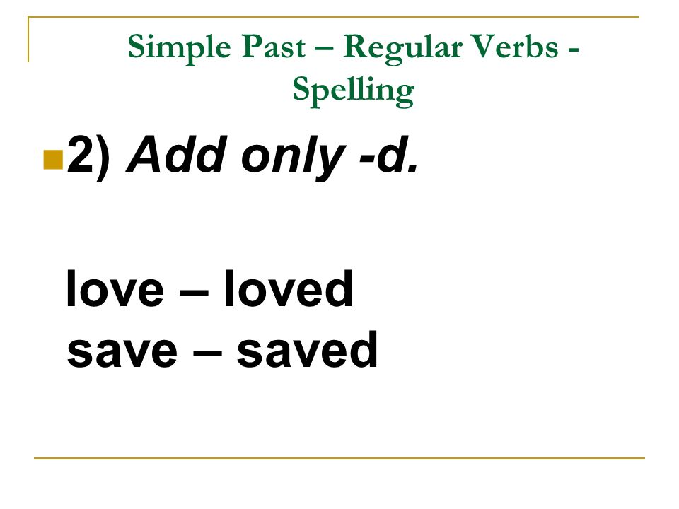 Simple Past – Regular Verbs -Spelling