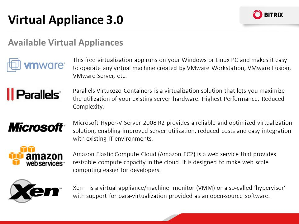Virtual Appliance 3.0 Available Virtual Appliances
